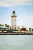 Lighthouse at Malaga's port. Andalusia. stock images