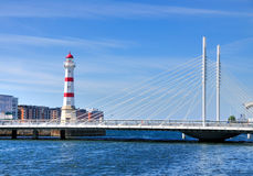 Lighthouse in Malmö, Sweden. The lighthouse of Malmö, Sweden, which is located in the port area of this city Royalty Free Stock Photo
