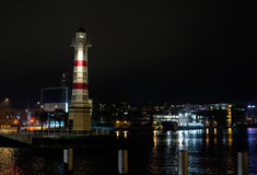 Lighthouse in Malmo. Lighthouse in the night in Malmo, Sweden, Europe Stock Photo