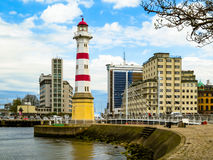 Lighthouse in Malmo, Sweden. Old Striped Lighthouse in Malmo, Sweden Royalty Free Stock Photo