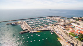 Lighthouse and marina of Cascais Portugal aerial view Stock Photography