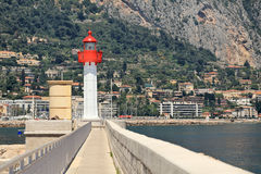 Lighthouse on marina in Menton, France, Royalty Free Stock Photography