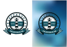 Lighthouse marine round emblem or badge Royalty Free Stock Photography