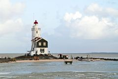 Lighthouse from Marken in the Netherlands Stock Images