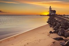 Lighthouse of Marken in The Netherlands at sunrise Royalty Free Stock Images