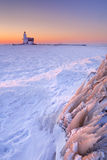 Lighthouse of Marken, The Netherlands at sunrise in winter Stock Image