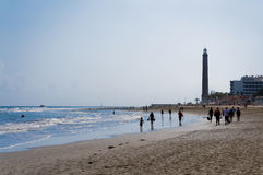 Lighthouse in Maspalomas beach. Canarias, Spain Royalty Free Stock Photos