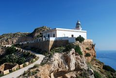 Lighthouse at the Mediterranean Coast Royalty Free Stock Photos