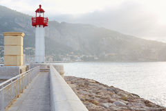 Lighthouse on the mediterranean coast, morning Stock Photography