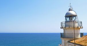 Lighthouse At Mediterranean Sea. Lighthouse With Mediterranean Sea As Background stock video