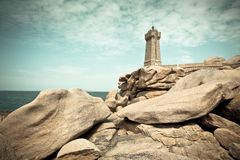 Lighthouse Men Ruz at Brittany, France Stock Photos