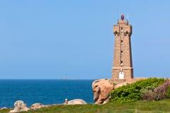Lighthouse Men Ruz at Brittany, France Royalty Free Stock Photos