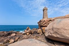 Lighthouse Men Ruz at Brittany, France Stock Photo