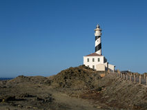 Lighthouse menorca. Lighthouse in the north of the island menorca, cap de favarixt Royalty Free Stock Photo