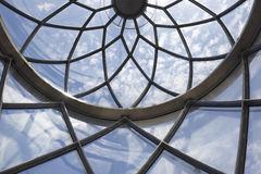 Lighthouse metallic and glass dome structure detail under blue sky Royalty Free Stock Photo