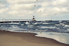 Lighthouse in Michigan City. Indiana. Lake Michigan royalty free stock photography