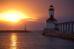 Lighthouse Michigan City. Lighthouse pier in Michigan City Indiana stock photos