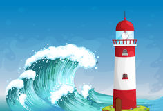 A lighthouse in the middle of the sea with high waves Stock Photography