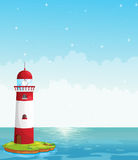 A lighthouse in the middle of the sea Stock Photo