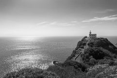 Lighthouse in Miseno. A beautiful lighthouse in black and white located in Miseno, Naples, Italy Royalty Free Stock Photo