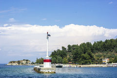 Lighthouse modern in Limenas Thassos. Modern lighthouse with solar panel in Limenas Thassos Royalty Free Stock Image
