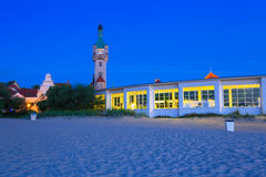 Lighthouse at the Molo in Sopot at night Stock Image