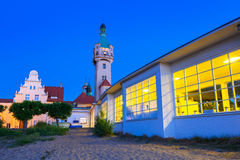 Lighthouse at the Molo in Sopot at night Stock Photography