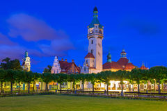 Lighthouse at the Molo in Sopot at night Royalty Free Stock Photo