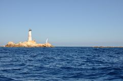 Lighthouse of Monaci Islands Stock Image