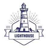Lighthouse monochrome isolated icon striped beacon or searchlight tower. Building or construction with ribbon and sign sea or marine navigation coast or beach royalty free illustration