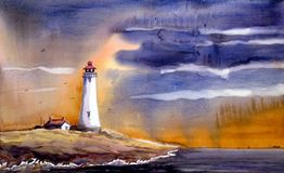 Lighthouse & Monsoon Landscape - Watercolor on Ppaer Painting Stock Photography