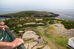 From Lighthouse, Montague Island. Looking down onto Montague Island from the top of the light house. A large part of the island consists of granite. Montague Stock Photography