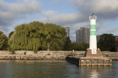 Lighthouse by Montrose Harbour entrance Royalty Free Stock Photo