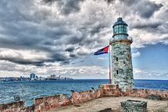 Lighthouse of morro castle. And havana city in background royalty free stock image