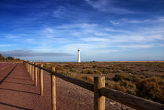 Lighthouse, Morro de Jable, Jandia playa, Fuerteve Royalty Free Stock Photo