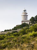 Lighthouse on a Mountain. Lighthouse located on the top of a mountain, with some mediterranean vegetation on the foreground Stock Images