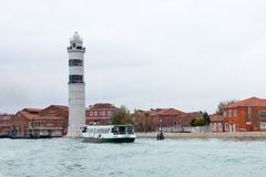 Lighthouse at the Murano Island near Venice Stock Images