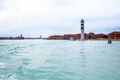 Lighthouse at the Murano Island near Venice Stock Photos