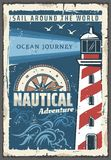 Beacon lighthouse vector nautical retro poster. Lighthouse nautical adventure retro poster safety of navigation symbol. Tower containing beacon light to warn or stock illustration