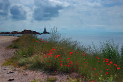 Lighthouse near Ahtopol with popies, Bulgaria Royalty Free Stock Images