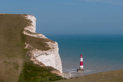 Lighthouse near Beachy head cliffs Royalty Free Stock Images