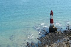 Lighthouse near Beachy Head at summer time Royalty Free Stock Images