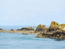 Lighthouse near coastline English Channel Brittany Royalty Free Stock Images