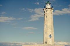 Lighthouse near Gythio against blue sky Stock Photography