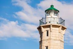 Lighthouse near Gythio against blue sky royalty free stock photo