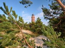Lighthouse near Prerow. The lighthouse at Darßer Ort near Prerow is a well-known tourist attraction Royalty Free Stock Photo