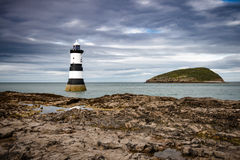 Lighthouse. Near Puffin island in Wales stock image