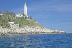 Lighthouse near Saint Jean Cap Ferrat, French Riviera, France Royalty Free Stock Image