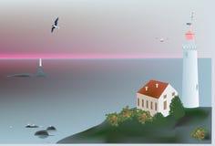 Lighthouse near sea at sunset. Illustration with lighthouse near sea at sunset stock illustration