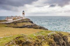 Lighthouse at Nest Point. A lighthouse at Nest Point, Scottish Inner Hebrides, Isle of Skye, Scotland stock photo